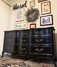 Load image into Gallery viewer, (SOLD) GORGEOUS and Newly ReDesigned Restoration Hardware inspired French Country Dresser/Media/Entryway/Sofa Table/Console/Buffet with Beautiful Design and Hardware!! Perfect BLACK BEAUTY!!