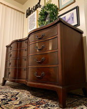Load image into Gallery viewer, (SOLD) GORGEOUS Vintage Double Serpentine Rosewood French Country Dresser/Media/Entryway/Buffet/Credenza with Scalloped and Custom Glass Top!!