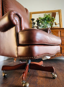 (SOLD) BEAUTIFUL High-End Hekman Large Executive Genuine Leather Chair with Nailhead Trim in Excellent Condition!!