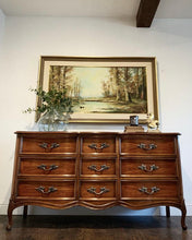 Load image into Gallery viewer, (SOLD) Gorgeous 3PC High-End Dixie French Country Modern Queen Anne Style Dresser and 2 Nightstands. They are Perfect Must Have Versatile French Modern Bargain BEAUTIES indeed!!