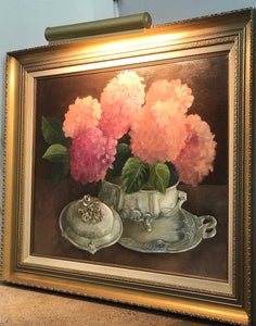(SOLD) Gorgeous Vintage French Floral Oil Painting with built-in Light!! Timeless BEAUTY!! 38X32