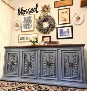 (SOLD) Gorgeous Vintage High-End American of Martinsville Versatile Buffet/Sideboard/Credenza/Entryway/Dreser/Media with Beautiful Details and Hardware!! 72X32X19