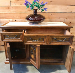 (SOLD) STUNNING Vintage High-End Bernhardt Italian Tuscan Server/Buffet/Media/Entryway with Marble Top in Excellent Condition!!! 50X32X19