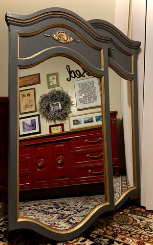 Gorgeous Set of Modern French Tremeau inspired Faux Decorative (Medium GRAY) Mirror with Beautiful Details and Unique Shape!!