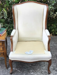(SOLD) Gorgeous Decorative Vintage Wingback Chair and matching side French Country 3Drawer Chest/Side/End Table with Beautiful Details and Hardware!!