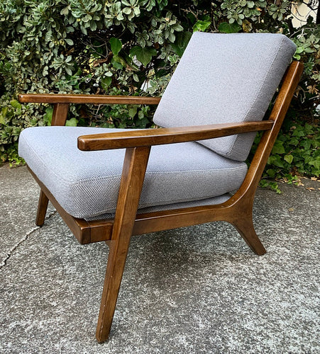(SOLD) Simply Beautiful West Elm Danish Mid Century Accent Chair with Textured Gray Cushions in a Sleek Wood Frame finished in Minum Dark Espresso!!