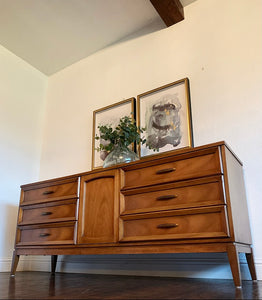 (SOLD) Gorgeous 2PC High-End Dixie Danish Mid Century Modern 9Drawer Dresser and Chest with Beautiful Design and Original Hardware in Superb Condition. Perfect Danish MCM BEAUTIES!!