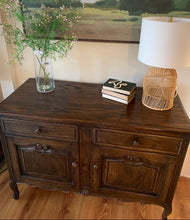 Load image into Gallery viewer, (SOLD) Restoration Hardware inspired Simply Beautiful Newly Restained Vintage FRENCH COUNTRY Entryway-Buffet-Console-Server-Coffee/Snack Table in Superb Condition. Perfect Vintage Piece for French Country and Wood Lover!!
