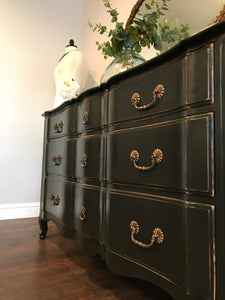 (SOLD) Gorgeous Vintage Rustic Restoration Hardware inspired French Country Serpentine 9Drawer Dresser/Buffet/Media/Entryway/Console!!