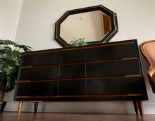 Load image into Gallery viewer, (SOLD) Simply Beautiful Mid Century Modern Danish Style 9Drawer Dresser/Media/Entryway/Sofa Table/ Console in Black!!  BEAUTY!!