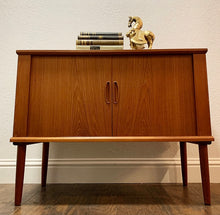 Load image into Gallery viewer, (SOLD) Simply Beautiful Danish Mid Century Modern Teak LP Record Player Cabinet in Superb Condition. Perfect Piece for Minimalist and MCM Lover!!