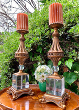 Load image into Gallery viewer, (SOLD) Stunning Large Pair of Vintage Heavy Duty Hollywood Regency with Swarovski Crystal Candle Holder in Excellent Condition!!