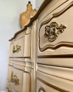 (SOLD) Beautiful and Well Kept 3PC Vintage Cream-Beige French Provincial Dresser, Mirror and Nightstand! Extremely Heavy Duty Solid Beauties!!