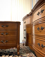 Load image into Gallery viewer, (SOLD) Gorgeous Vintage High-End Dixie 9Drawer French Country Serpentine Dresser and 1 Nightstand/End-Side Table with Beautiful Details and Hardware!!