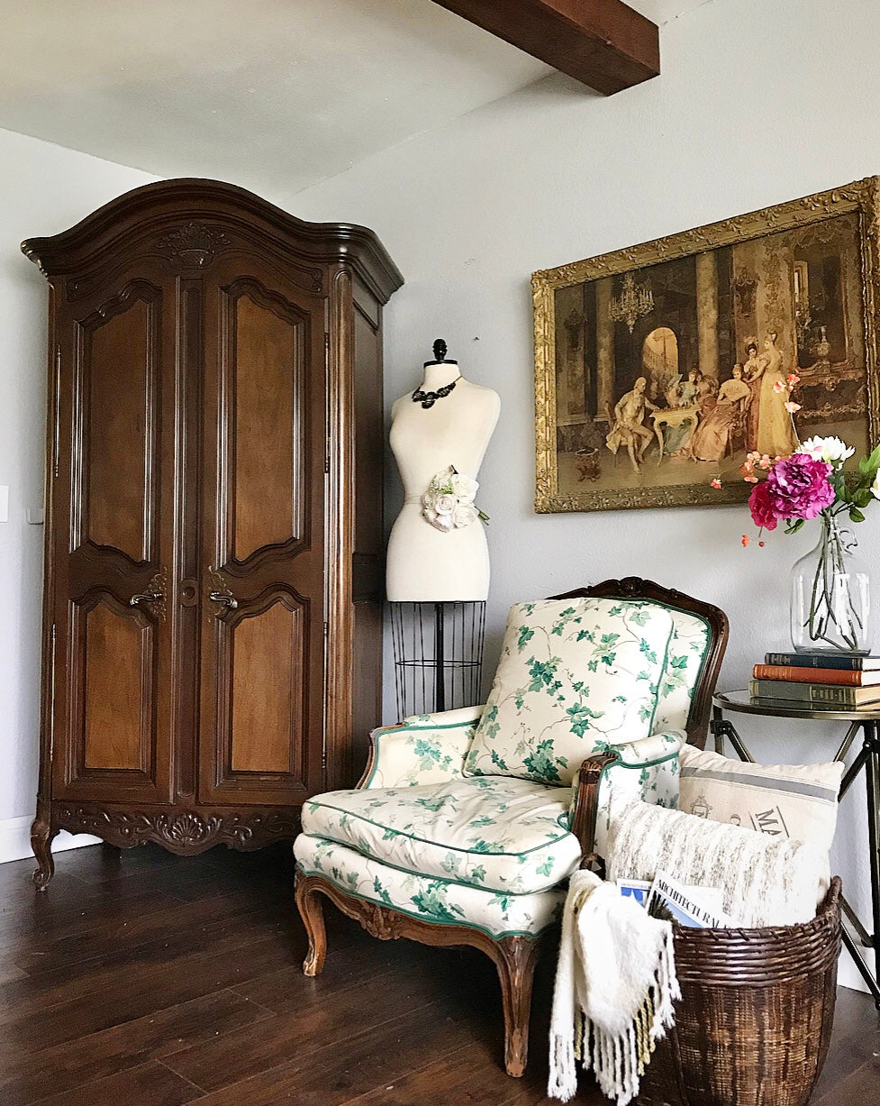 (SOLD) GORGEOUS Vintage French Country Armoire/Storage/Media/Dresser/Entryway with Gorgeous Details and Hardware!! 42X80X21
