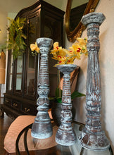 Load image into Gallery viewer, (SOLD) Gorgeous White Wash French-Farmhouse inspired Decorative Like New 3PC Tall Candle Holders!!