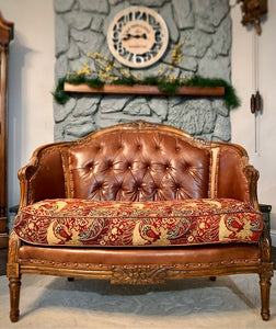 (SOLD) Gorgeous High-End French-Victorian Decorative Tufted Settee-Loveseat with Gorgeous Details and Beautiful Fabric!!