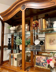 (SOLD) Stunning High-End Ethan Allen French Louis XV Style French Country Lighted Versatile Display Cabinet/Bookcase/China Cabinet with Beautiful Design and Hardware!!