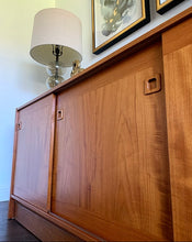Load image into Gallery viewer, (SOLD) Simply Beautiful Danish-Scandanavian Teak Mid Century Modern Credenza/Media/Entryway/Sideboard with Sculpted Pulls and Superb Condition. Perfect Danish MCM for Minimalist and Wood Lover!!