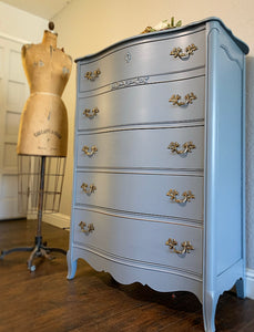 (SOLD) Beautiful and Newly ReDesigned 5Drawer French Country Modern Chest in GRAY!! Perfect All Purpose BEAUTY!!!