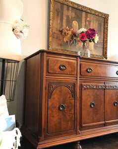 (SOLD) GORGEOUS Vintage Jacobean Buffet/Sideboard/Media/Entryway with Beautiful Details!! 62X37X20