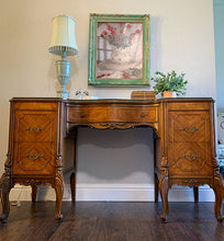 Load image into Gallery viewer, (SOLD) Stunning 1940s French-Victorian Vanity Desk with Custom Built Glass Top, Gorgeous Details and Original Hardware!!