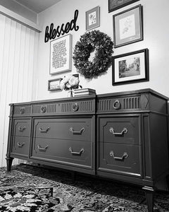 (SOLD) Gorgeous 2PC Modern French Regency Dresser/Media/Buffet/Entryway with matching Nightstand in Superb Condition. Perfect Pieces any room in your Nest!! This is a Must-Have Modernize BEAUTY indeed!!