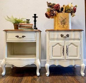 (SOLD) Set of Gorgeous French Country Nighstands/End-Side Tables in Off White. Beautifully ReDesigned and Solid Wood to Last!! BEAUTIES!!