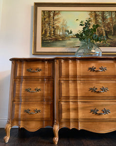 (SOLD) Simply Beautiful 5PC Vintage French Country Bedroom Set (Dresser, Mirror, 2 Nightstands and Chest of Drawers with Beautiful Scalloped Design and Hardware in Great Condition!!