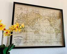 Load image into Gallery viewer, (SOLD) Beautiful Mid Century Modern Large WORLD MAP with glass cover in Superb Like NEW Condition!! Perfect Heavy Duty Home Decor!! 44X34