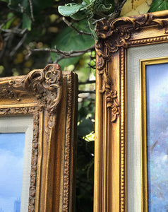 (SOLD) Gorgeous Vintage French-Victorian Oil Painting with Stunning French Floral Wood Detail Frames in Excellent Condition!!