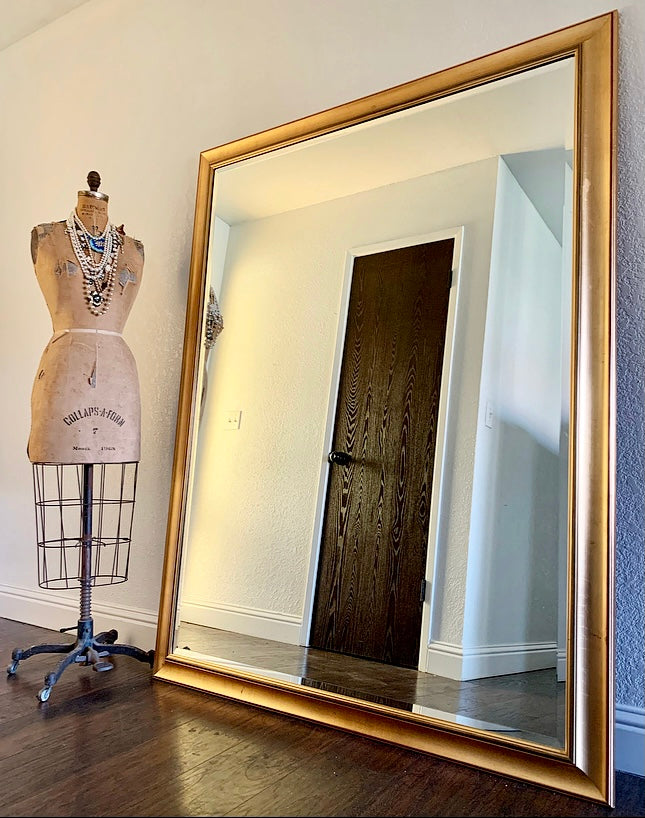 (SOLD) Simply BEAUTIFUL XL French Modern Bevelled Wall-Floor Mirror in Superb Shape. Perfect Decorative Piece any room in your Nest!!