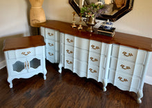 Load image into Gallery viewer, (SOLD) Gorgeous 2PC Modern French Country Dresser and Nightstand in Powder Blue and Excellent Condition. They are Perfect French BEAUTIES indeed!!