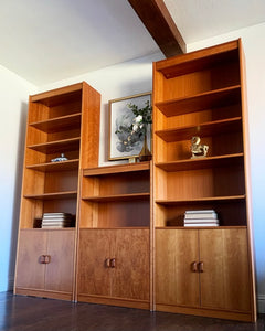 (SOLD) Simply Beautiful XL Danish-Scandanavian Mid Century Modern Teak 3PC Wall Unit Display/Cabinet/Bookcases/Media in Superb Condition. Perfect Danish-MCM BEAUTIES!!