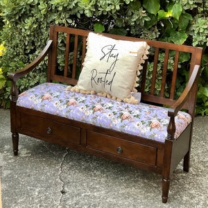(SOLD) GORGEOUS Newly Upholstered in French Lilac Floral Fabric Entryway Bench-Bed-End with Storage Drawers in Superb Condition!!