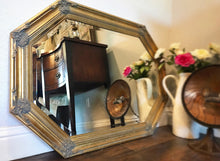 Load image into Gallery viewer, (SOLD) Gorgeous 1930s French-Victorian Octagon Decorative Mirror with Beautiful Details and Bevelled Glass!! 42X22