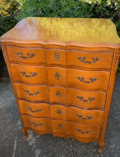 Load image into Gallery viewer, (SOLD) Stunning Vintage Serpentine French Country Chest of Drawers with Beautiful Details and Original Hardware!!