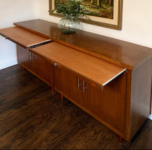 Load image into Gallery viewer, (SOLD) Beautiful 2PC Large Danish Style Mid Century Modern Credenza/Media/Entryway/Sideboard/Console with Pullout Breadboard and Modern Brass Hardware!!