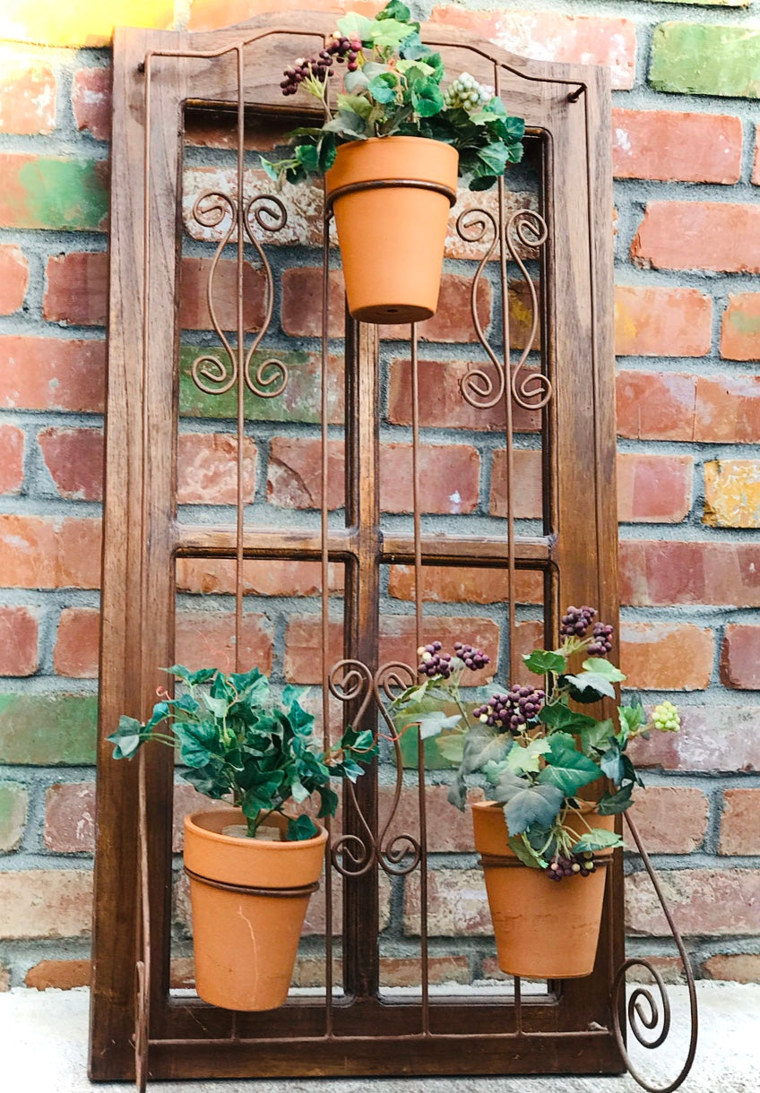 (SOLD) Gorgeous French Country Indoor/Outdoor Wood and Wrought Iron Plant Holder. Perfect Organic Decor any spot in your Nest!!