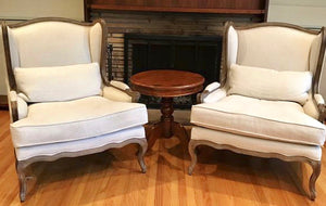 (SOLD) Gorgeous High-End Elegant Wingback Modern French Country Chairs in Great Condition!!! Perfect Luxurious Accent Chairs!! 34W 43H 32D