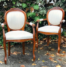 Load image into Gallery viewer, (SOLD) Gorgeous High-End Harris Marcus French Louis XV Fauteuil Style Set of Accent Chairs in Antique Gold Stipes and Light Cream Fabric.