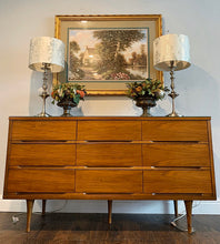 Load image into Gallery viewer, (SOLD) Stunning Versatile Danish Mid Century Modern 3PC Bedroom Set/Credenza/Entryway/Media (Dresser with Custom Glass Top, 1 Nighstand and Mirror) in Excellent Condition!!!