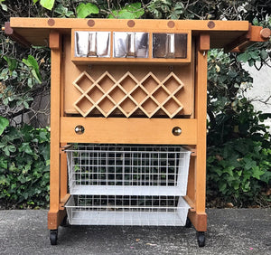 (SOLD) GORGEOUS Portable Kitchen Island/Peninsula Cart with Natural Solid Butcher Wood Top in Excellent Condition!! 42W 35H 25D