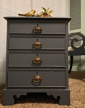 Load image into Gallery viewer, (SOLD) Beautiful and Solid 4Drawer Vintage Side-End Table/Nightstand/Chest in Gray. Perfect. BEAUTY!!
