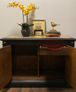 (SOLD) Gorgeous High-End Mid-Century Stanley Buffet/Entryway/Console/Media/Credenza (in wheels and marble top!) with Beautiful Details and Solid Wood!!