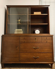 Load image into Gallery viewer, (SOLD) Beautiful MID CENTURY MODERN Danish 2PC Versatile Walnut Display/Hutch Cabinet/Bookshelf with Sliding Glass Doors!!! Solid Beauty Perfect for MCM and Wood Lover!!