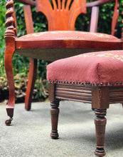 Load image into Gallery viewer, (SOLD) Gorgeous Antique 1920s Decorative/Accent Chair with Spindel Arm Rest and matching Footstool. Beautifully Constructed and Solid Mahagony Wood. All Original!!!