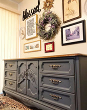 Load image into Gallery viewer, (SOLD) Gorgeous Vintage French Country Dresser/Buffet/Media/Entryway with Beautiful Details and Hardware!! 71X32X19