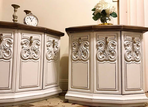 (SOLD) GORGEOUS Vintage Nightstands/End/Side Tables with Beautiful Details!! 25W 24H 17D