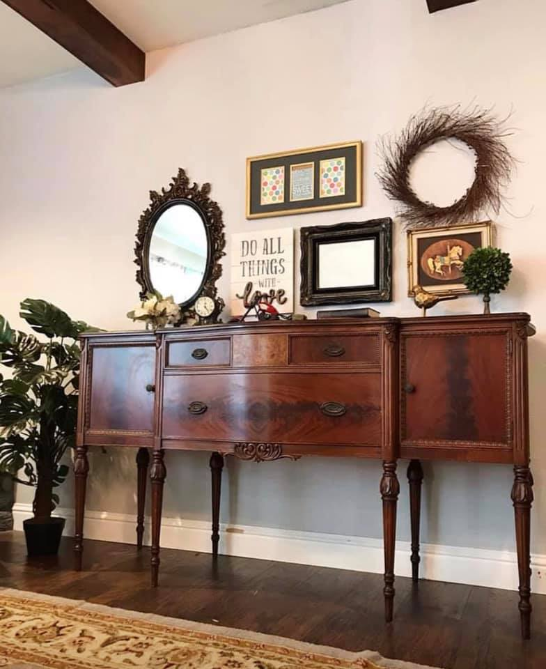 (SOLD) GORGEOUS 1930s French Country Buffet/Sideboard/Credenza/Entryway/Dresser/Media with Beautiful Details!!! 68W 37H 22D